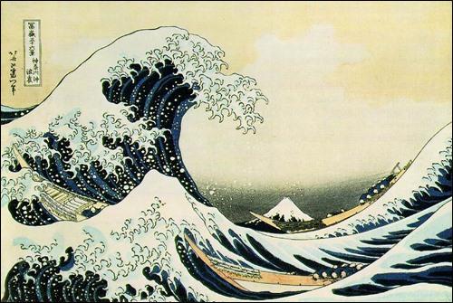 ▲ 19세기 판화 우끼요에 '가나자와의 파도' (후지산이 작게 보인다)