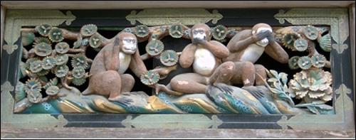 ▲ 도쇼구, 원숭이의 지혜를 새긴 목판