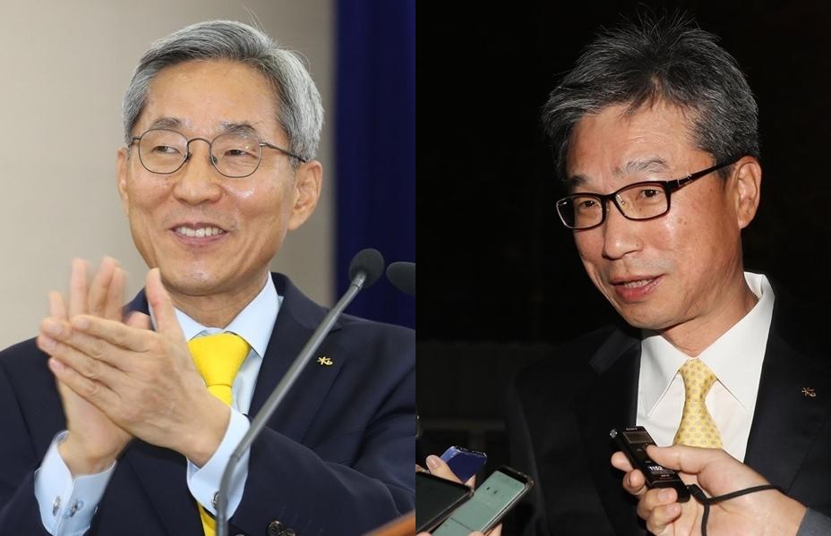 ▲ 윤종규 KB금융 회장(왼쪽)과 허인 KB국민은행장