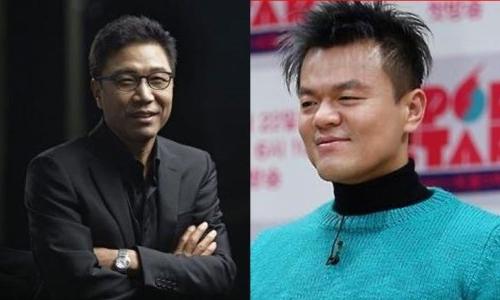 ▲ ▲이수만 SM엔터테인먼트 회장(왼쪽)과 박진영 JYP엔터테인먼트 이사