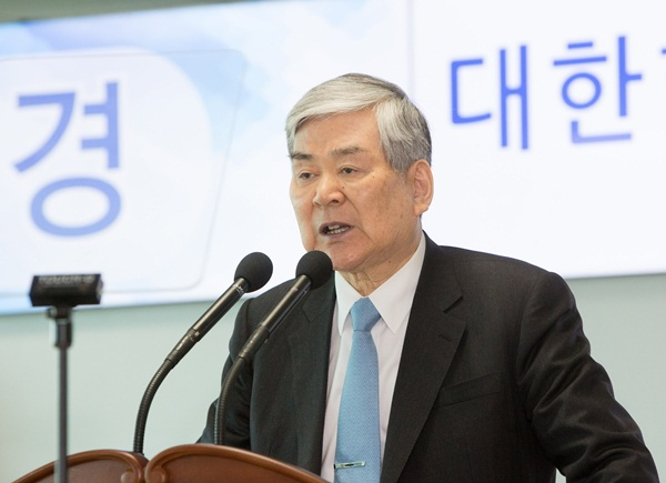 ▲ 대한항공 창립 49주년 행사에 참석한 조양호 한진그룹 회장