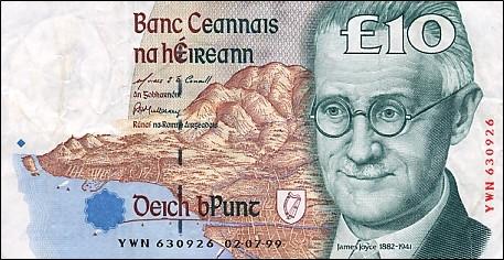 ▲ 아일랜드 지폐에 새겨진 제임스조이스