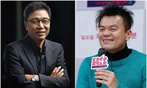▲ 이수만 SM엔터테인먼트 회장(왼쪽)과 박진영 JYP엔터테인먼트 이사.