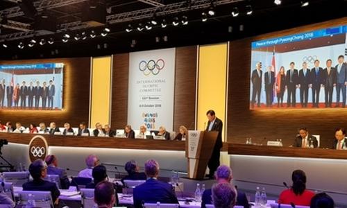 ▲ 이희범 평창동계올림픽 조직위원장이 IOC 총회에서 보고하고 있다.