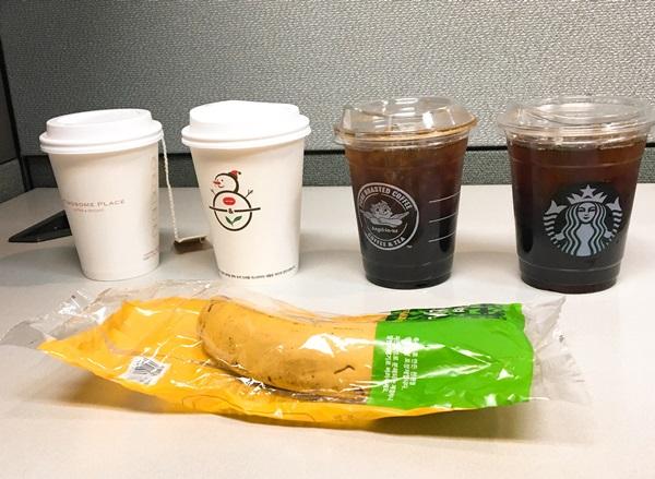 ▲ 커피전문점 업계가 친환경 포장재 도입에 열을 올리고 있다. (왼쪽부터) 투썸플레이스, 커피빈, 엔제리너스, 스타벅스.