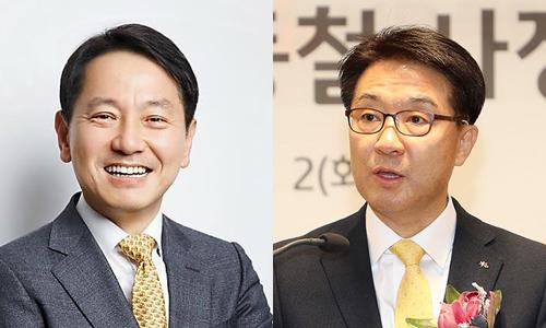 ▲ 원기찬 삼성카드 사장(왼쪽)과 이동철 KB국민카드 사장