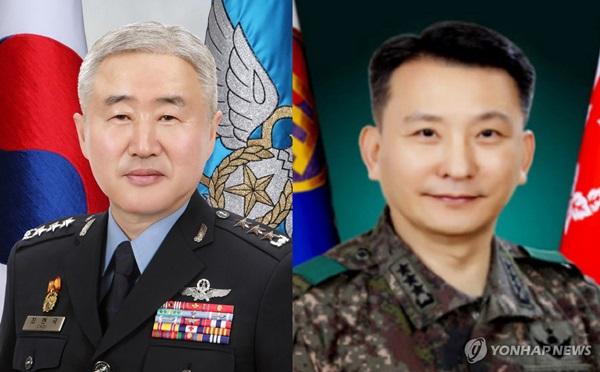 ▲ 최현국 합동참모차장(왼쪽)과 김승겸 육군참모차장