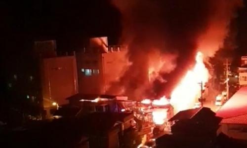 ▲ 사진= 지난 14일 구미시 한 물류회사 창고 화재현장