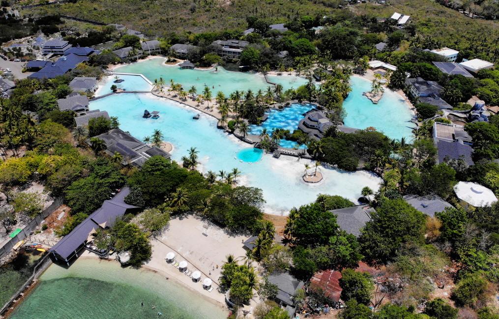 ▲ 리조트 자체가 달콤한 여행지 '플랜테이션 베이(Plantation Bay)' 9개의 수영장이 있으며 갈라파고스 비치(Galapagos beach)가 연결되어 있다