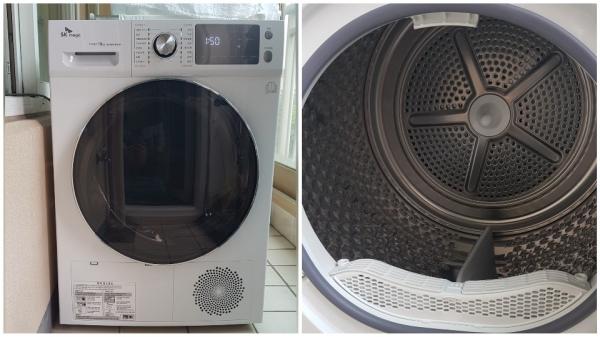 ▲ 드럼세탁기와 비슷한 외관을 지닌 SK매직 히트펌프 건조기 10kg