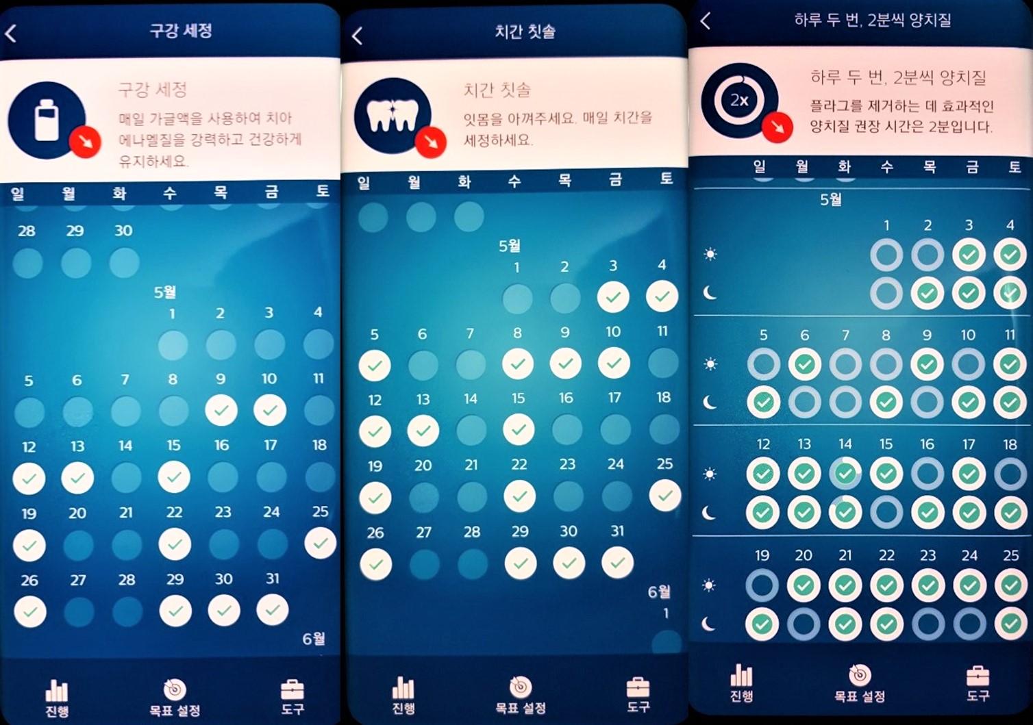▲ 칫솔질이 끝나면 'Sonicare' 앱에서 질문을 한다. 치실을 사용했는지, 가글은 했는지, 프라그가 제거 되었는지 물어본다. 날짜별로 매일 체크를 한다.