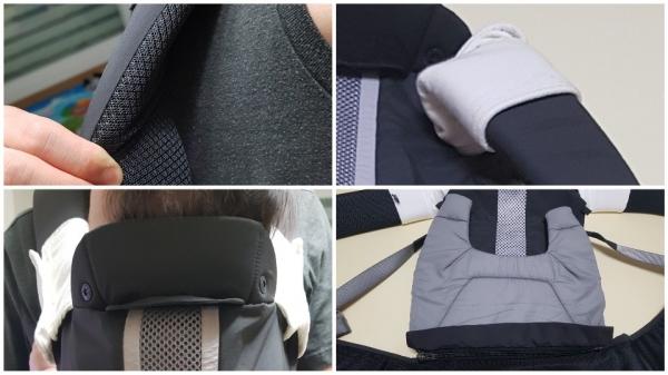▲ 어깨부분의 고발포 스폰지(왼쪽 위), 어깨침받이(오른쪽 위), 커브드 헤드서포트 시스템(왼쪽 아래), 인서트 패드(오른쪽 아래)