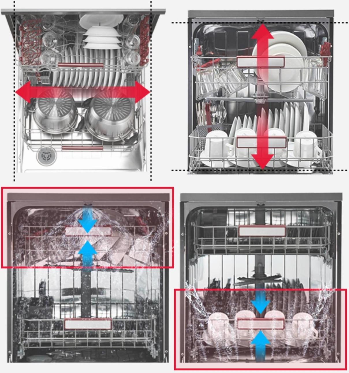 ▲ (위)3~5인 가구에 적합한 와이드한 수납공간과 (아래)상하단 분리 세척이 가능해 상황에 따라 선택 세척을 할수있다.