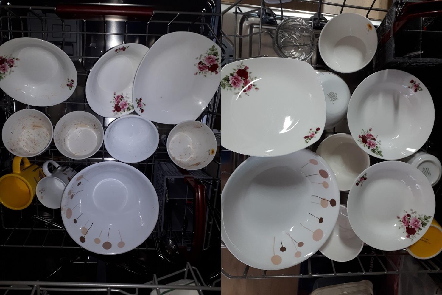 ▲ (좌)밥풀이 잔뜩 붙어 있는 밥그릇들, (우)깔끔하게 세척이 된 밥그릇들