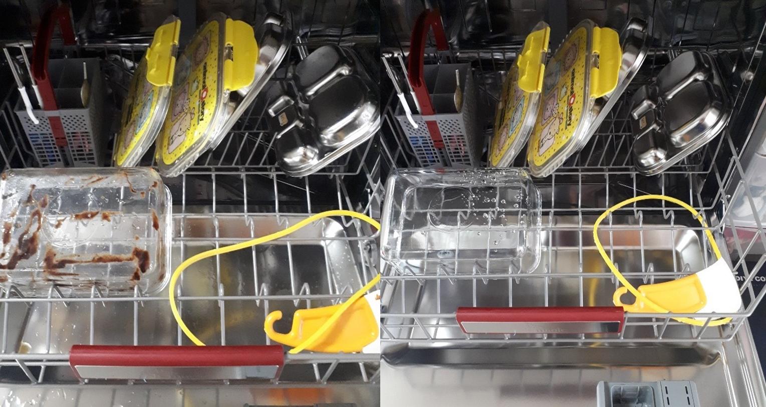 ▲ (좌)음식 찌꺼기로 지저분해진 그릇들, (우)깔끔하게 씻겨 나온 그릇들