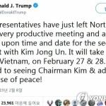 """트럼프 미국 대통령 """"2차 북미정상회담, 하노이서 개최"""""""